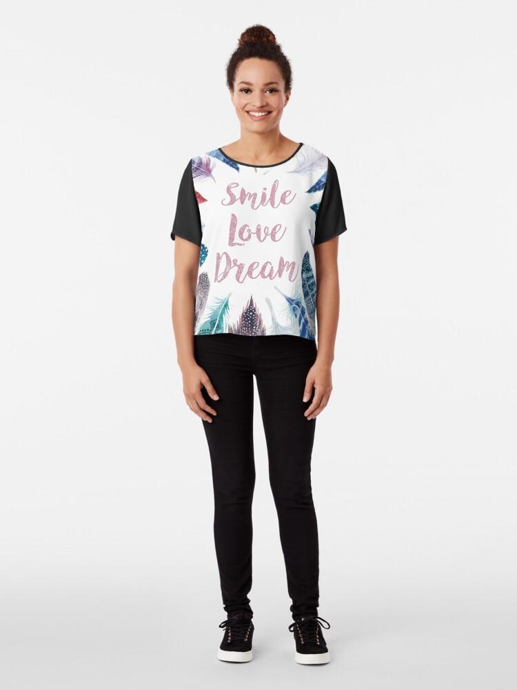 Vista alternativa de Blusa Feathers, Smile, love, dream