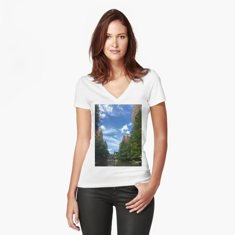 River walk  Fitted V-Neck T-Shirt