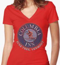 Columbia Inn, Pine Tree Vermont Women's Fitted V-Neck T-Shirt