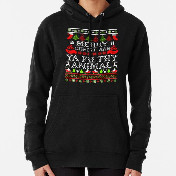 Christmas T-shirt - Merry Christmas Ya Filthy Animal Pullover Hoodie