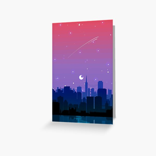 Bisexual Pride Cityscape Greeting Card