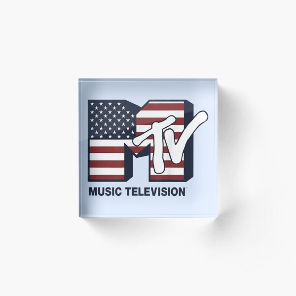 MTV Logo American Flag Graphic Acrylic Block