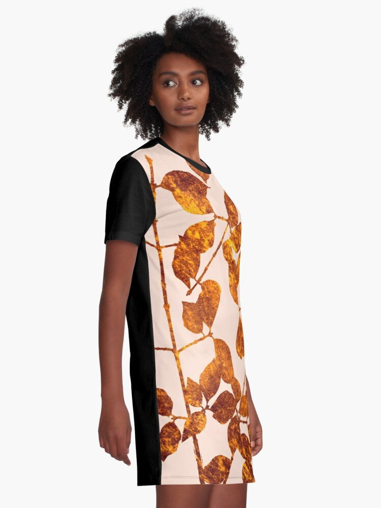 Alternate view of fall golden leaves Graphic T-Shirt Dress