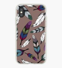 Colorful tribal feathers print. Vector illustration iPhone Case