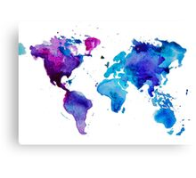 Watercolor map of the world by anastasiia kucherenko redbubble canvas print sciox Image collections