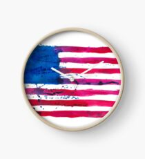 Watercolor Flag of the USA Clock