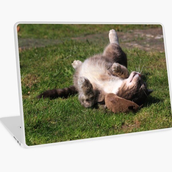 Tabby cat playing with toy mouse Laptop Skin