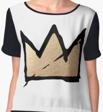 Gold & Black Basquiat Crown  Chiffon Top