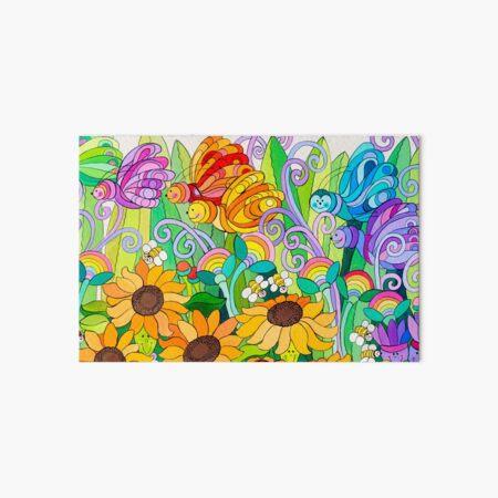 Ladybug Garden Rainbow Butterflies Art Board Print