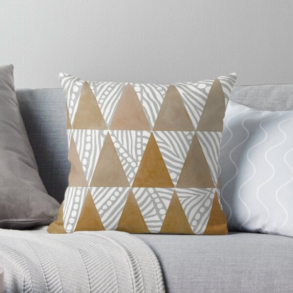 Natural Watercolor Triangles Throw Pillow