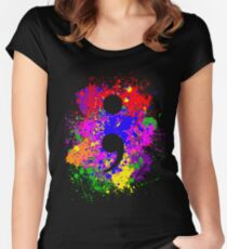 Semicolon Paint Splatter Women's Fitted Scoop T-Shirt