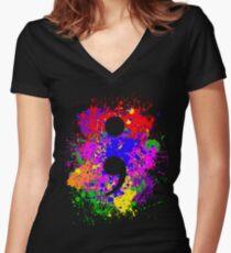 Semicolon Paint Splatter Women's Fitted V-Neck T-Shirt
