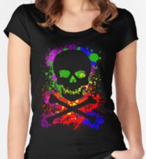 Paint Splatter Skull Women's Fitted Scoop T-Shirt