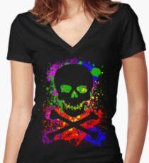 Paint Splatter Skull Women's Fitted V-Neck T-Shirt