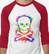 Paint Splatter Skull Men's Baseball ¾ T-Shirt