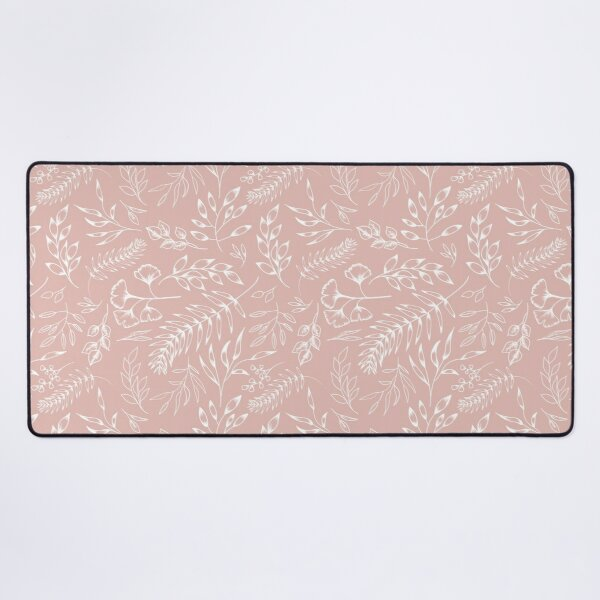 White ink botanical floral leaves pattern in dusty pink colour Desk Mat
