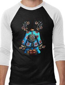 Asia Blue on Black TShirt by Karin Taylor Men's Baseball ¾ T-Shirt