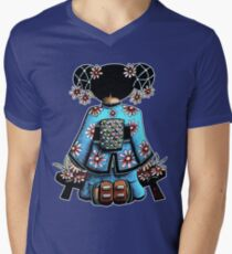 Asia Blue Doll (large design) Mens V-Neck T-Shirt