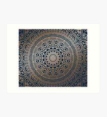 Boho Navy and Rose Gold Mandala Art Print