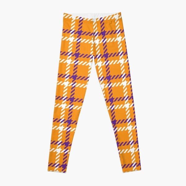 Halloween Orange Purple White Check Square Pattern Leggings