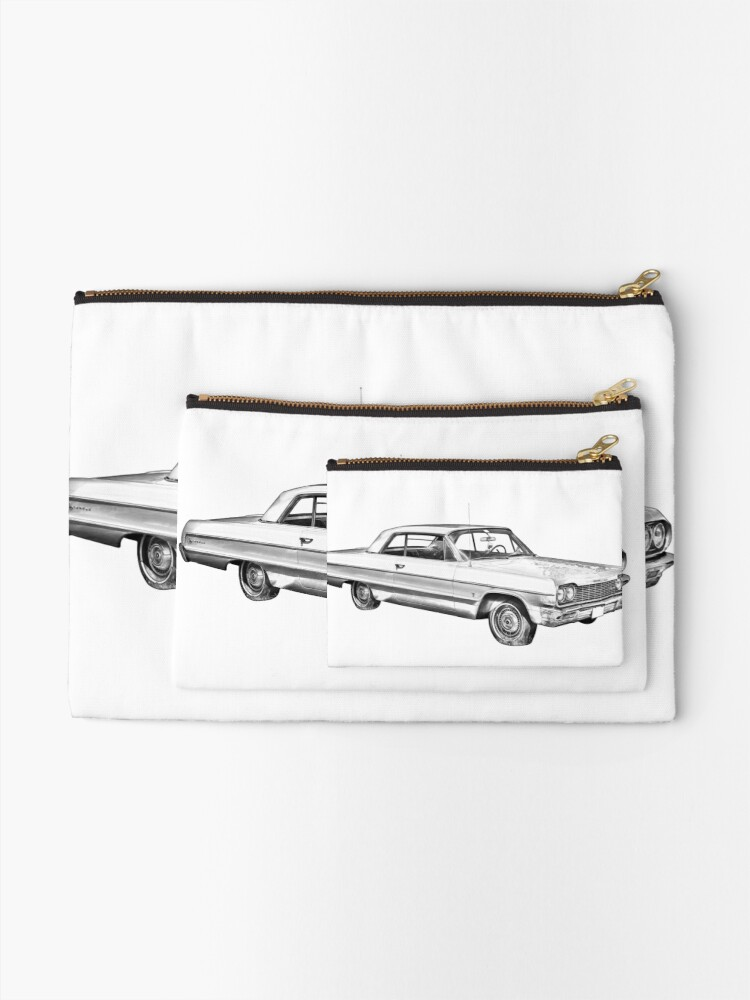 65 CHEVY IMPALA HOODIE ILLUSTRATED CLASSIC RETRO MUSCLE CAR