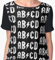 AB/CD (white on black) Chiffon Top