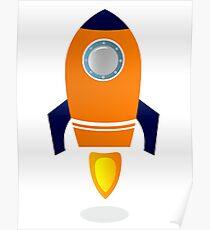 Vector - stylized Rocket Ship : Orange Poster