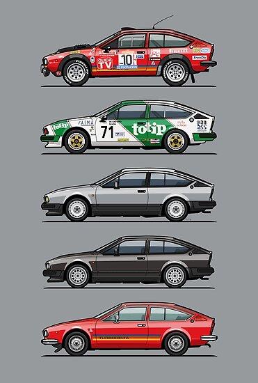 Stack Of Alfa Romeo Alfetta GT And GTV Posters By Tom Mayer - Alfa romeo poster
