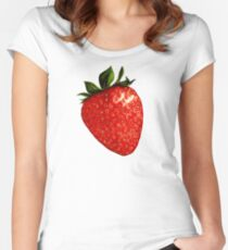 Strawberry Pattern - Black Women's Fitted Scoop T-Shirt