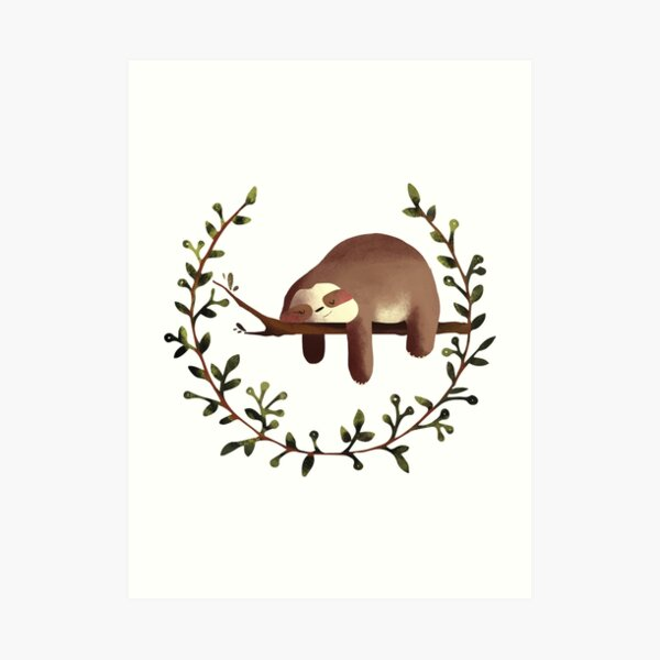 SLEEPING SLOTH Art Print