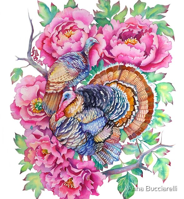 Thanksgiving Turkeys and Peonies by Anna Bucciarelli