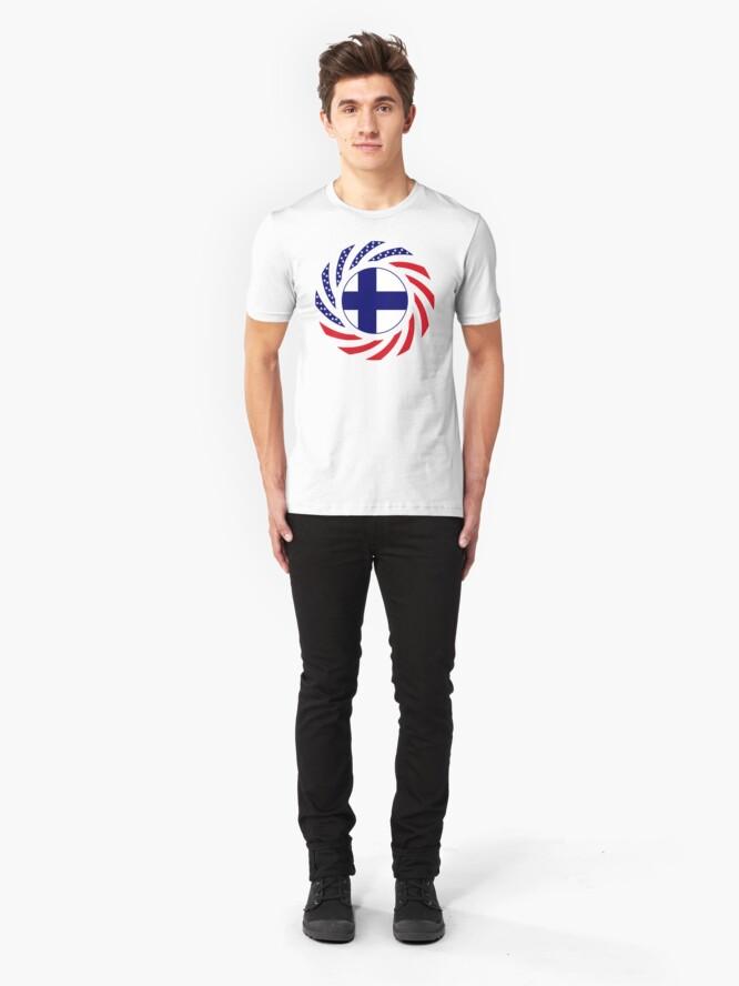 Alternate view of Finnish American Multinational Patriot Flag Series Slim Fit T-Shirt
