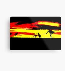 Kangaroos silhouettes at Sunset Metal Print