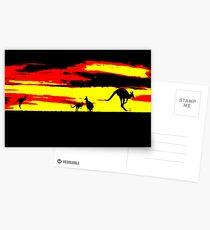 Kangaroos silhouettes at Sunset Postcards