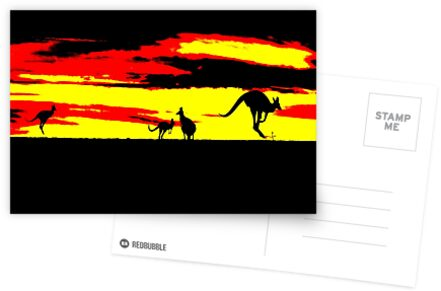 Kangaroos silhouettes at Sunset by Leonard Fernandes