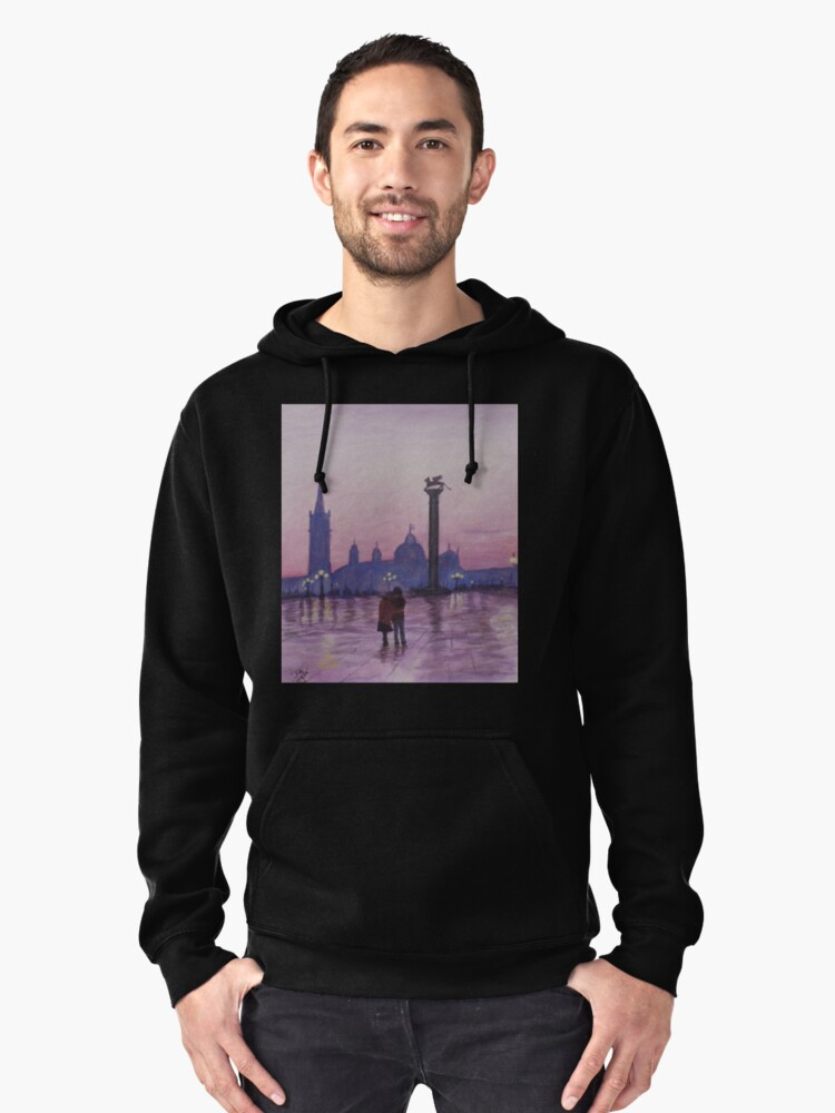 Walk in Italy in the rain Pullover Hoodie Front