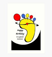Happy Birthday for Masseuse, Balloon Toes on Foot Art Print