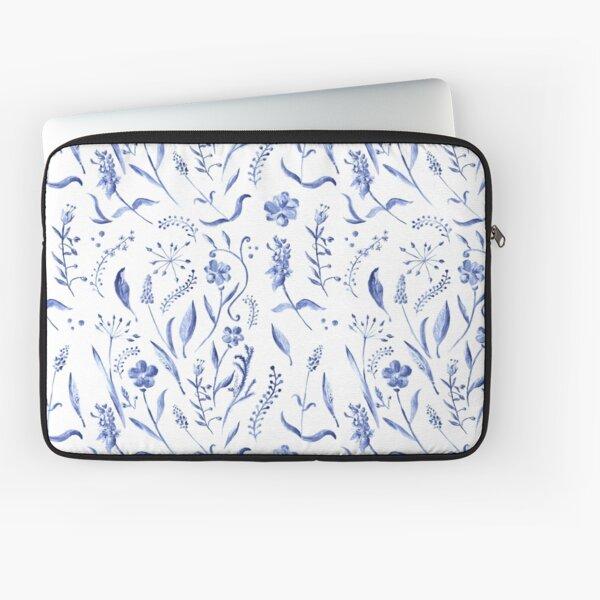 Indigo blue watercolor herbal pattern Laptop Sleeve