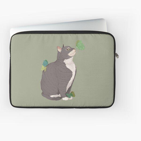 Cat and Butterflies Fantasy Art Laptop Sleeve