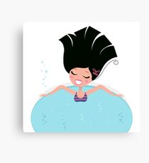 Young pretty woman relaxing in whirlpool Canvas Print