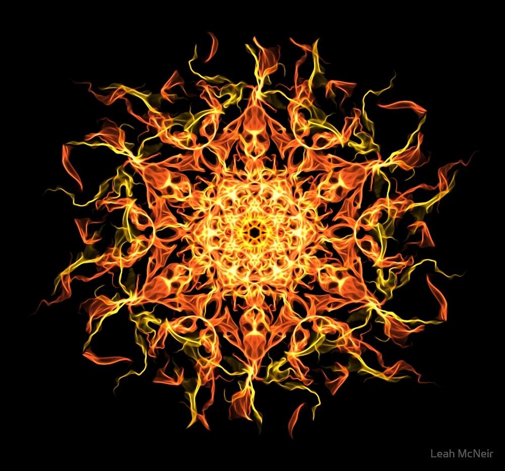Mystic Spirit Awakening -  Fiery Transcendence Intuitive Energy Mandala. by Leah McNeir
