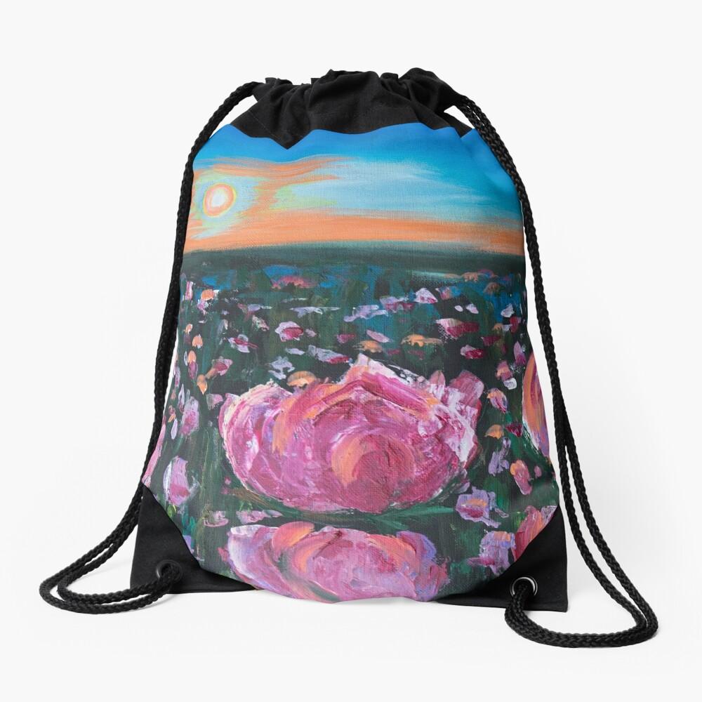 Peonies Drawstring Bag Front