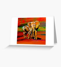 Bright mother and baby elephant Greeting Card
