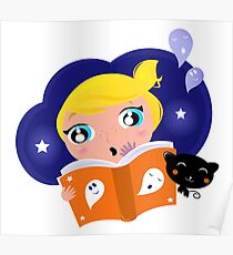 Cute Girl is reading Halloween Story Book Poster