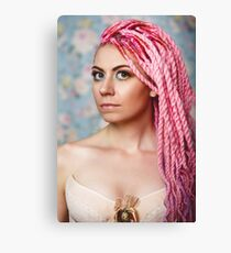 Freaky young female model wearing corset Canvas Print