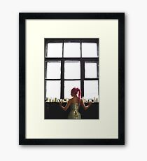 Young woman with dreadlocks wearing corset Framed Print