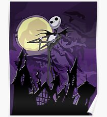 Halloween Skinny Ghost with purple sky Poster