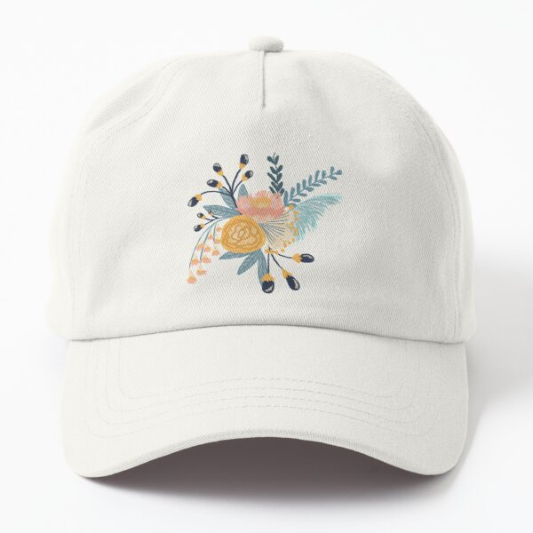 Blue and yellow color digital floral illustration  Dad Hat