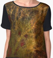 Gold and Red Tree Branch Abstract Women's Chiffon Top