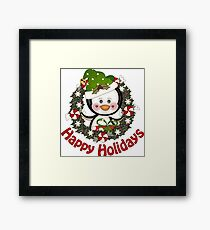 Adorable Christmas Penguin Wreath Framed Print